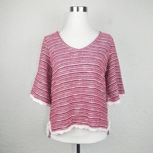 Chelsea And Violet Fringe Top red Anthropologie wh